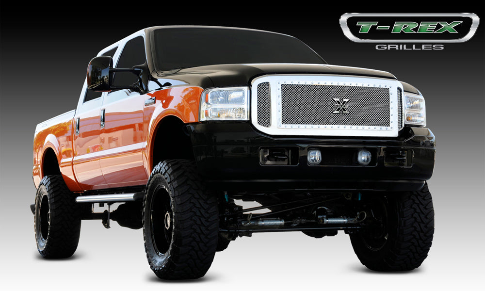 T-REX Grilles-6715610-Super Duty Grille 05-07 Ford Super Duty Stainless Polished 3 Piece X Metal Series T-REX Grilles-AutoAccessoriesGuru.com