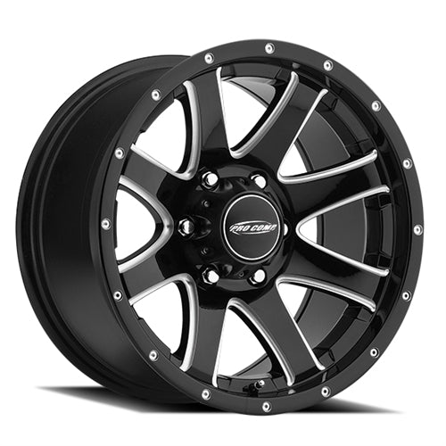 Pro Comp Alloy Wheels|Pro Comp USA-8186-7983-Series 86 17x9 with 6 on 5.5 Bolt Pattern Gloss Black Milled Pro Comp Alloy Wheels-AutoAccessoriesGuru.com