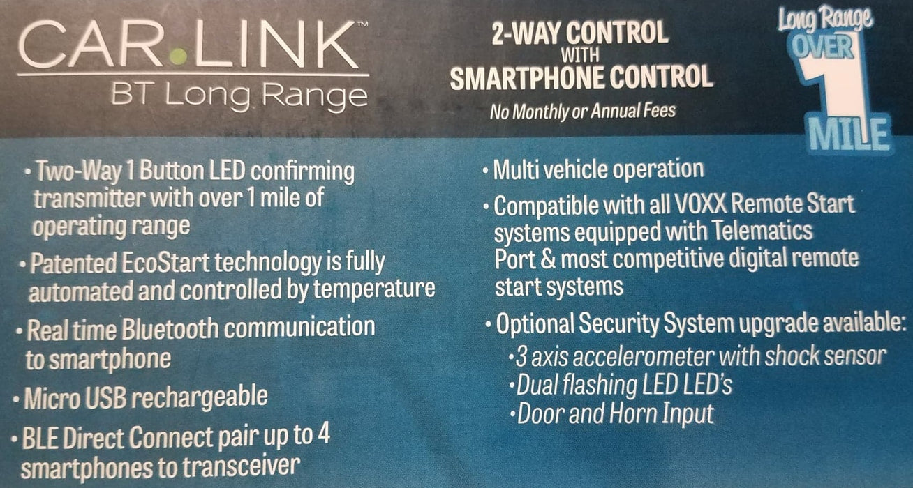 Car Link ASCLBTLR Long Range Bluetooth Remote Starter ADD-ON Kit Over 1  Mile Range