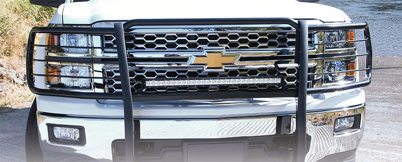 TrailFX® E0033B BLACK Grille Guard | Chevy Silverado 1500 14-19