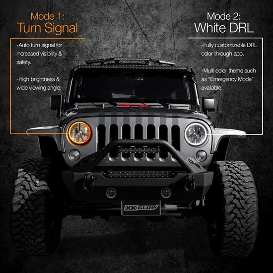"XKGLOW XK-7RING-KIT 2pc 7"" RGB LED External Jeep Halo Ring XKchrome Bluetooth App Controlled Kit w/ Turn Signal and DRL Function"