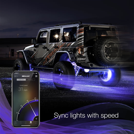 "XKGLOW XK-WHEEL-KIT 4pc 15"" Wheel Ring Light Kit XKchrome Bluetooth App controlled w/ Turn Signal Function"