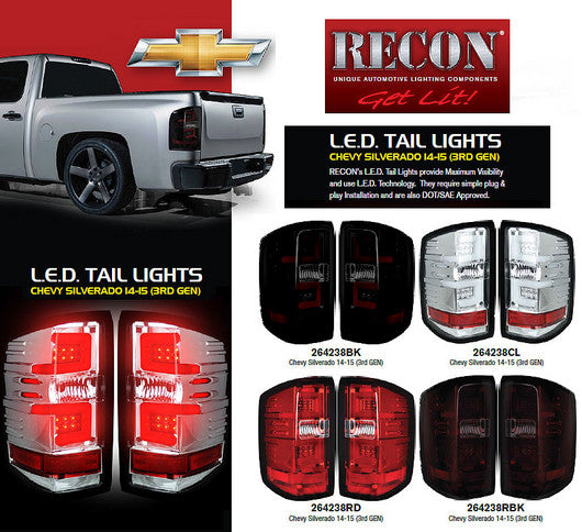 RECON-264238RD-RECON LED Tail Lights Chevy Silverado 14-17 RED CLEAR OLED Part# 264238RD-AutoAccessoriesGuru.com