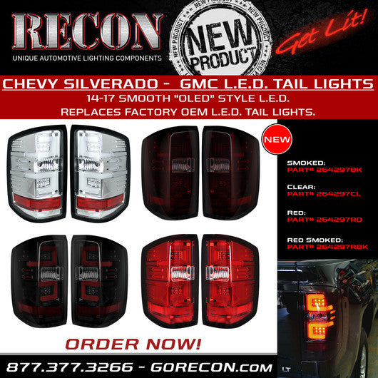 Recon LED Tail Lights Chevy Silverado 16-17 RED CLEAR OLED #264297RD-Auto Accessories Guru .COM
