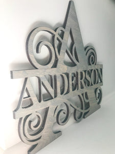 Monogram Family Sign