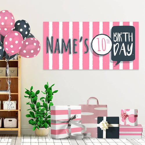 Pink Stripes - Birthday - Banners - PrintingApes