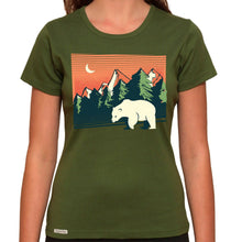 Load image into Gallery viewer, Polar Bear Landscape - Organic T-Shirt - Women's (Style: Altai) - PrintingApes