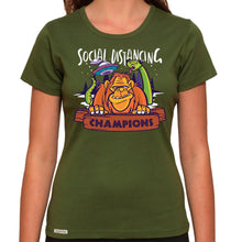 Load image into Gallery viewer, Social Distancing Champions - Organic T-Shirt - Women's (Style: Altai) - PrintingApes