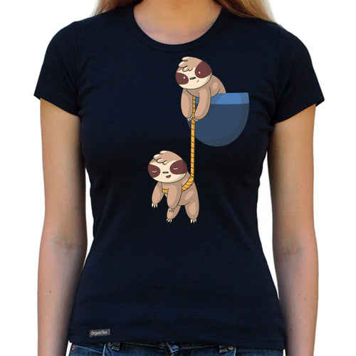 Pocket Sloth - Organic T-Shirt - Women's (Style: Altai) - PrintingApes