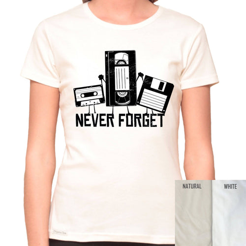 Never Forget Tapes - Organic T-Shirt - Women's (Style: Altai) - PrintingApes