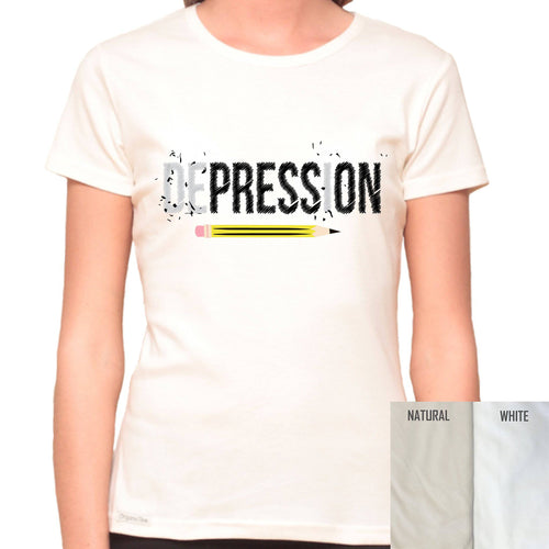 Press On Depression - Organic T-Shirt - Women's (Style: Altai) - PrintingApes