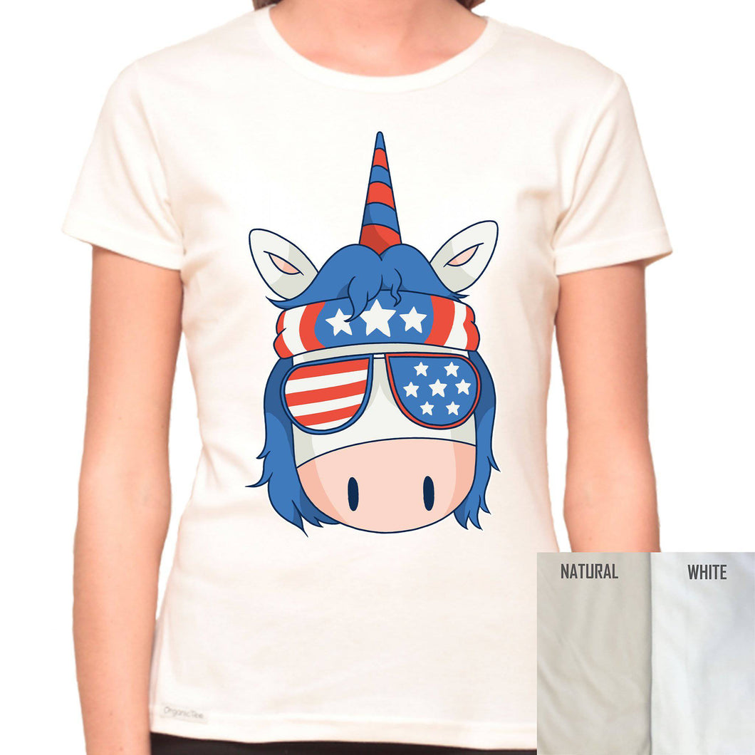 Red White and Blue Unicorn - Organic T-Shirt - Women's (Style: Altai) - PrintingApes