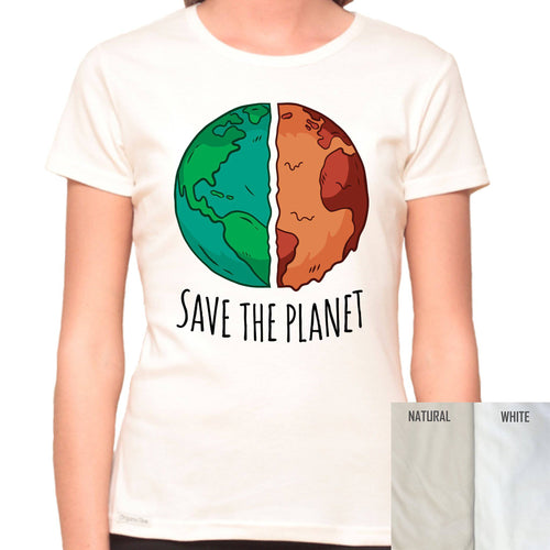 Save The Planet - Organic T-Shirt - Women's (Style: Altai) - PrintingApes