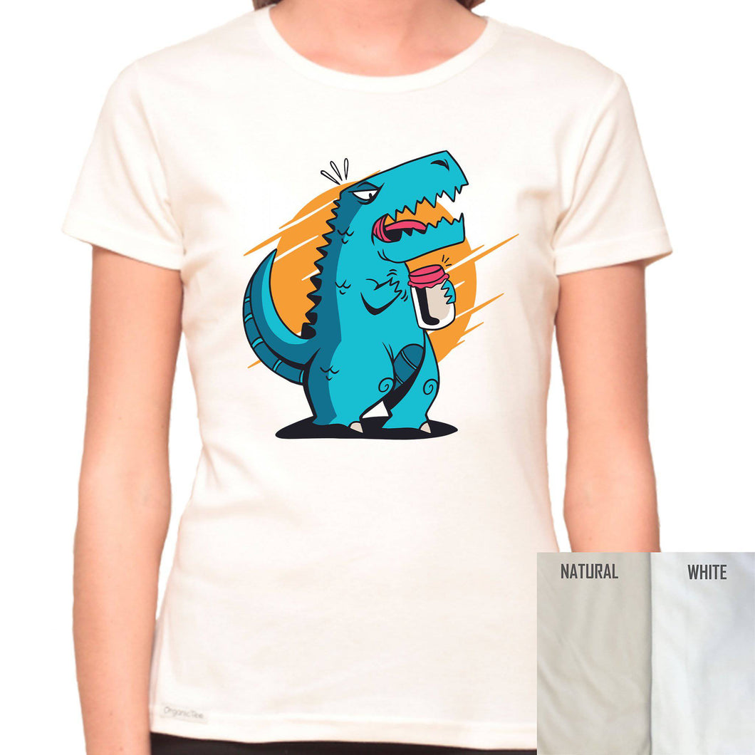 T-Rex Can't Open A Jar - Organic T-Shirt - Women's (Style: Altai) - PrintingApes