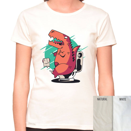 T-Rex Can't Reach The Toilet Paper - Organic T-Shirt - Women's (Style: Altai) - PrintingApes