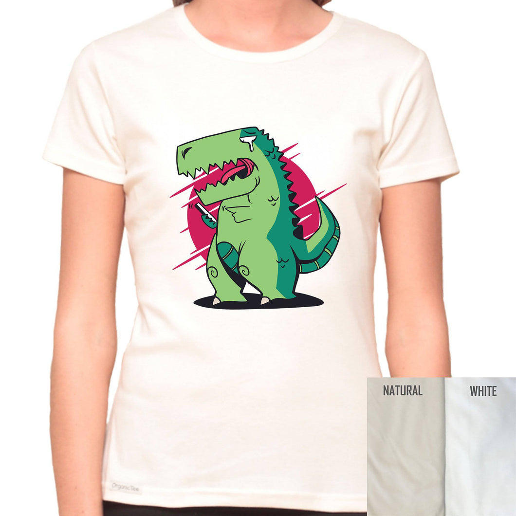 T-Rex Can't Text - Organic T-Shirt - Women's (Style: Altai) - PrintingApes