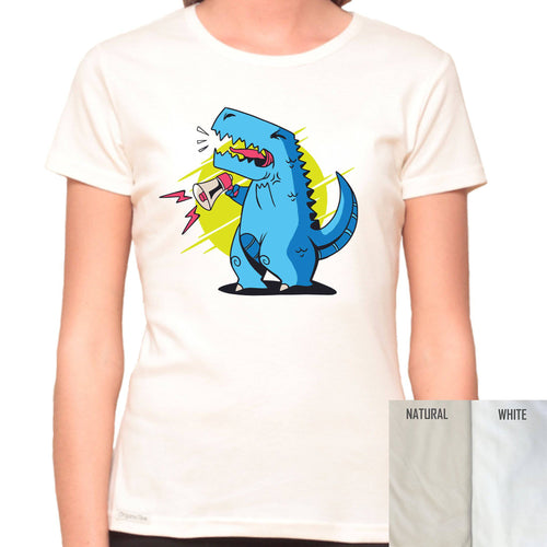 T-Rex Can't Use A Megaphone  - Organic T-Shirt - Women's (Style: Altai) - PrintingApes