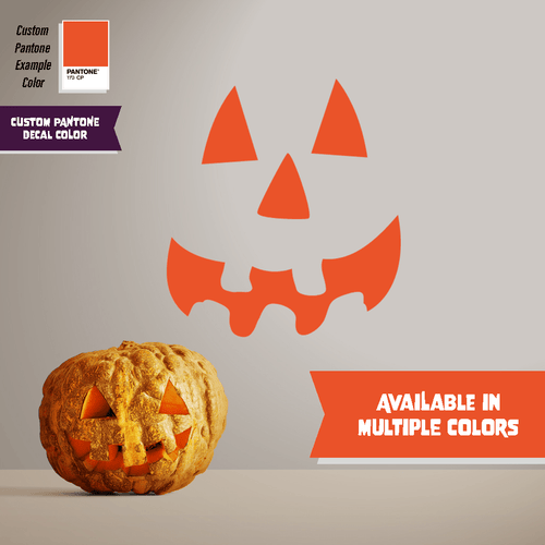 Happy Pumpkin Face - Halloween - Wall Decal - PrintingApes