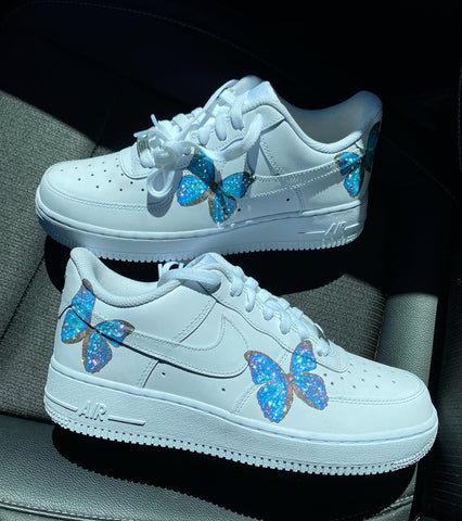 Glitter Blue HD Clear Butterfly Air Force 1