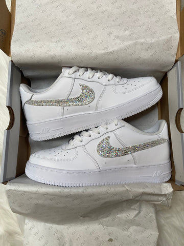 Silver Diamond Bling Swoosh Air Force 1