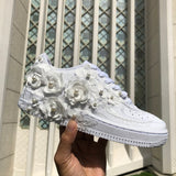 3D White Floral Air Force 1