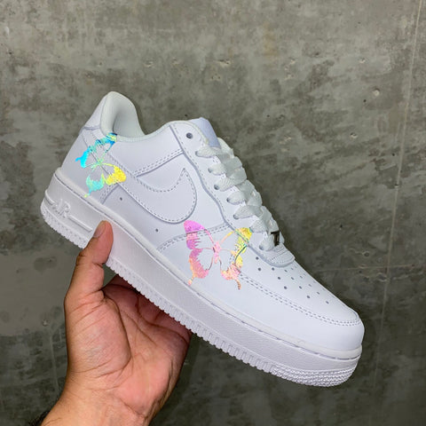 White Rainbow Reflective Butterfly Air Force 1