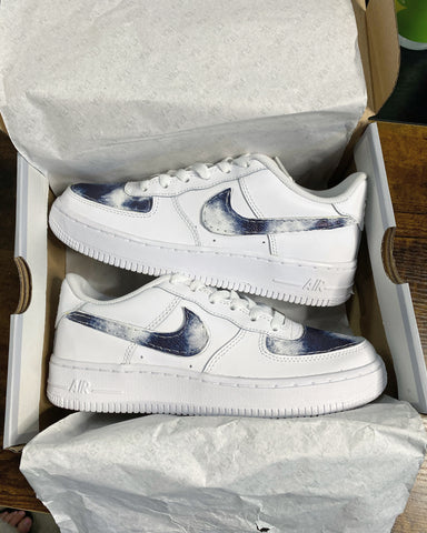 Blue Tie-dye Leather Air Force 1