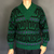 VINTAGE CRAZY PATTERN KNITTED V Neck JUMPER / SWEATER - Large - Vintique Clothing
