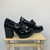 "VINTAGE CHUNKY SHOES IN SHINY BLACK With Chain - SIZE UK7/EU40 - 4"" Heel"