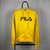 Vintage Fila Spellout Hoodie in Yellow - Men's Small/Women's Medium