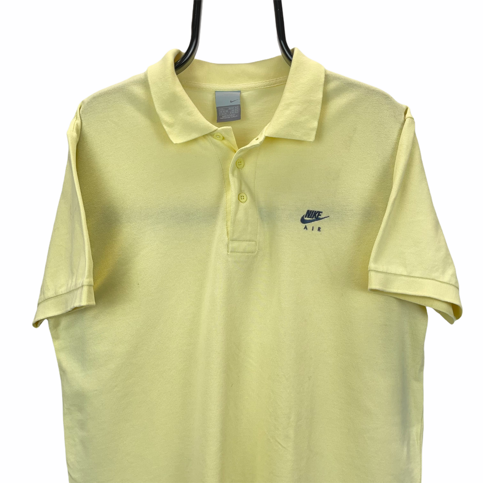 VINTAGE NIKE EMBROIDERED SMALL LOGO POLO SHIRT IN LEMON YELLOW - MEN'S LARGE/WOMEN'S XL