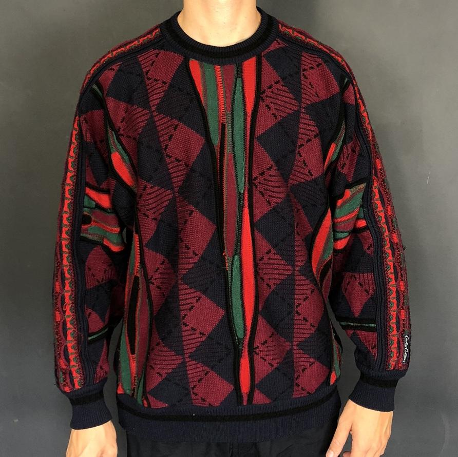 Vintage Coogi Style Carlo Colucci Knitted Jumper / Sweater - Vintique Clothing