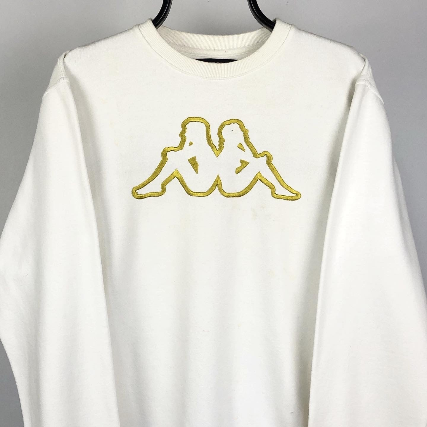 Vintage Kappa Sweatshirt in White & Gold - Men's Medium/Women's Large