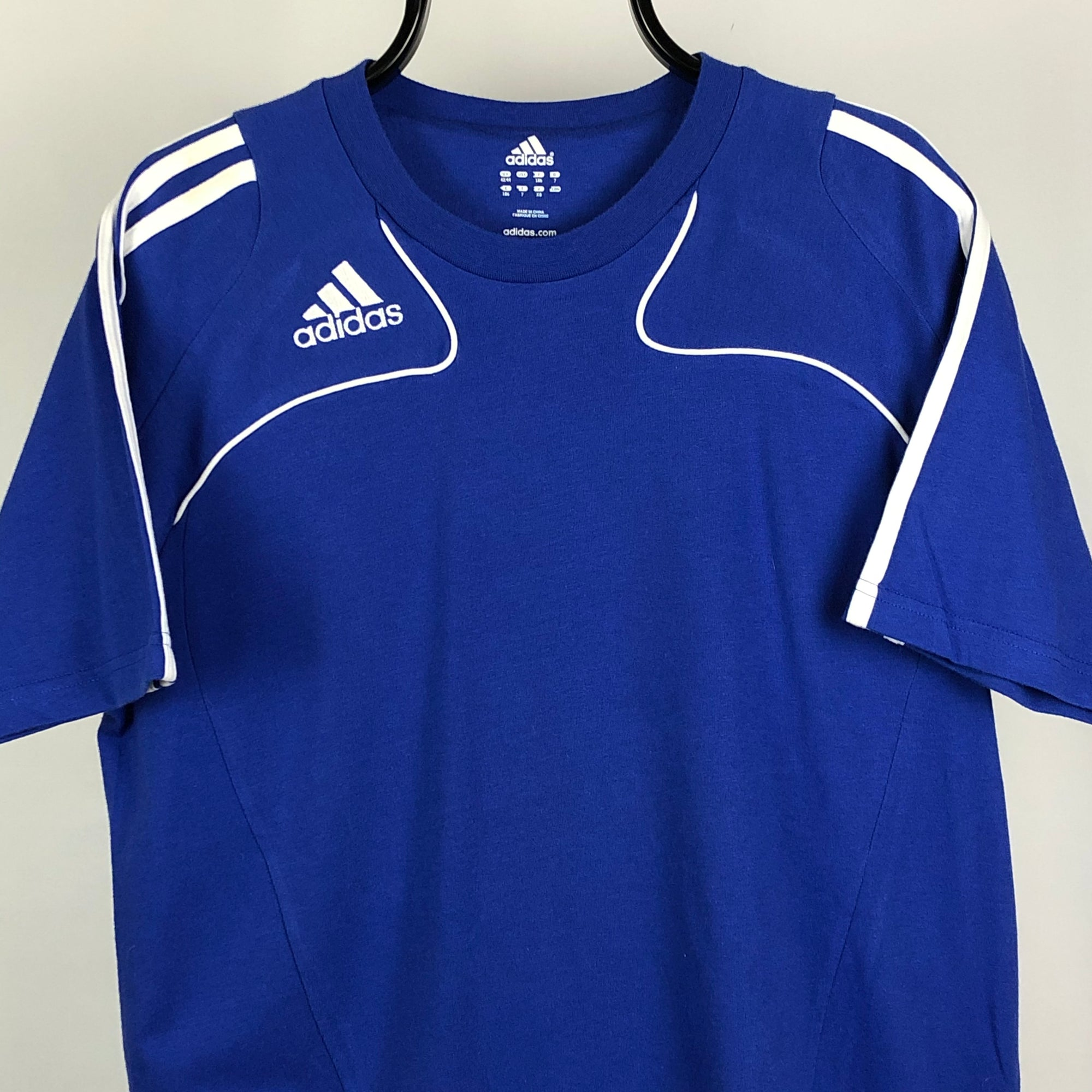 Adidas Embroidered Small Logo Tee in Blue/White - Men's Large/Women's XL