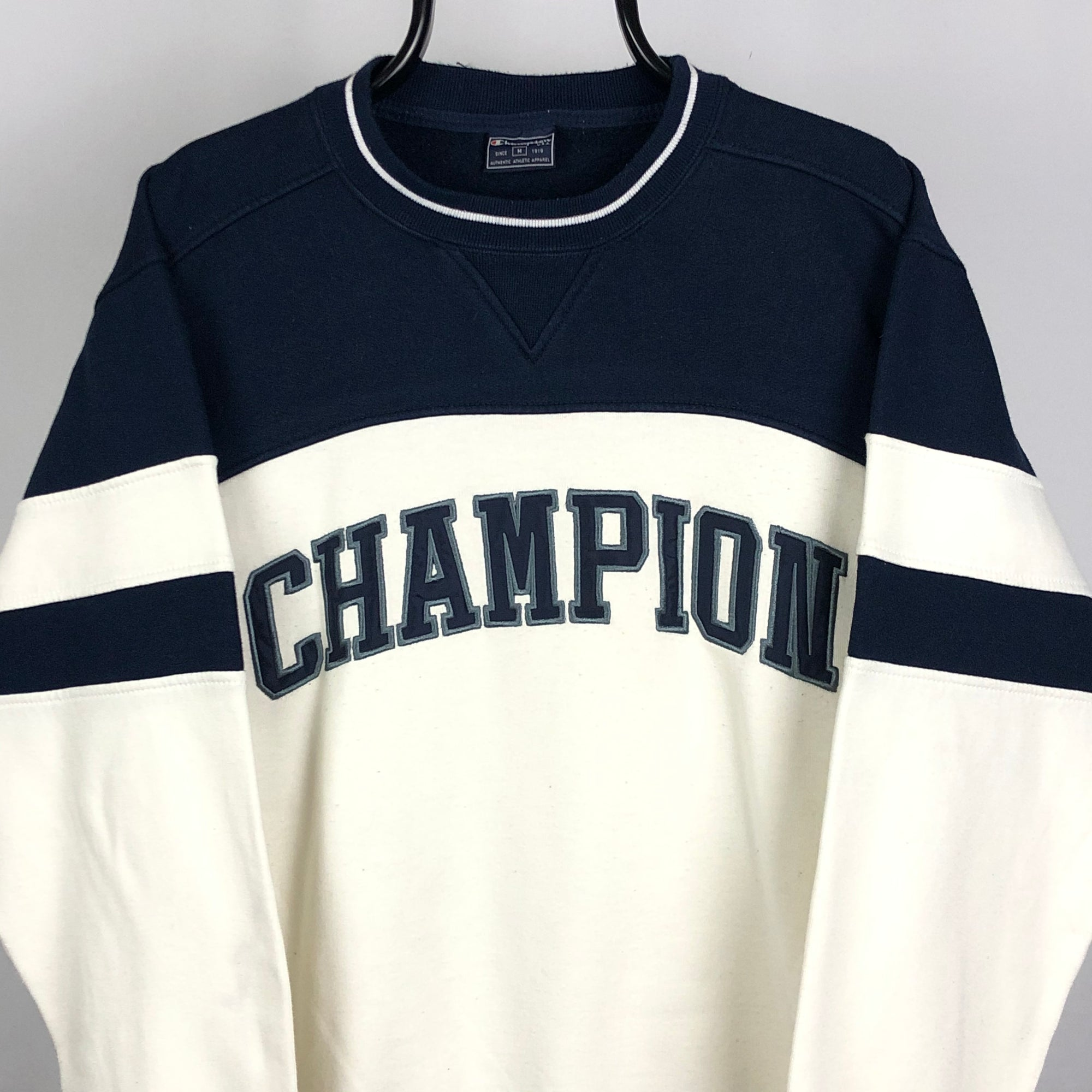 Vintage Champion Embroidered Spellout Sweatshirt in Navy/White - Men's Medium/Women's Large