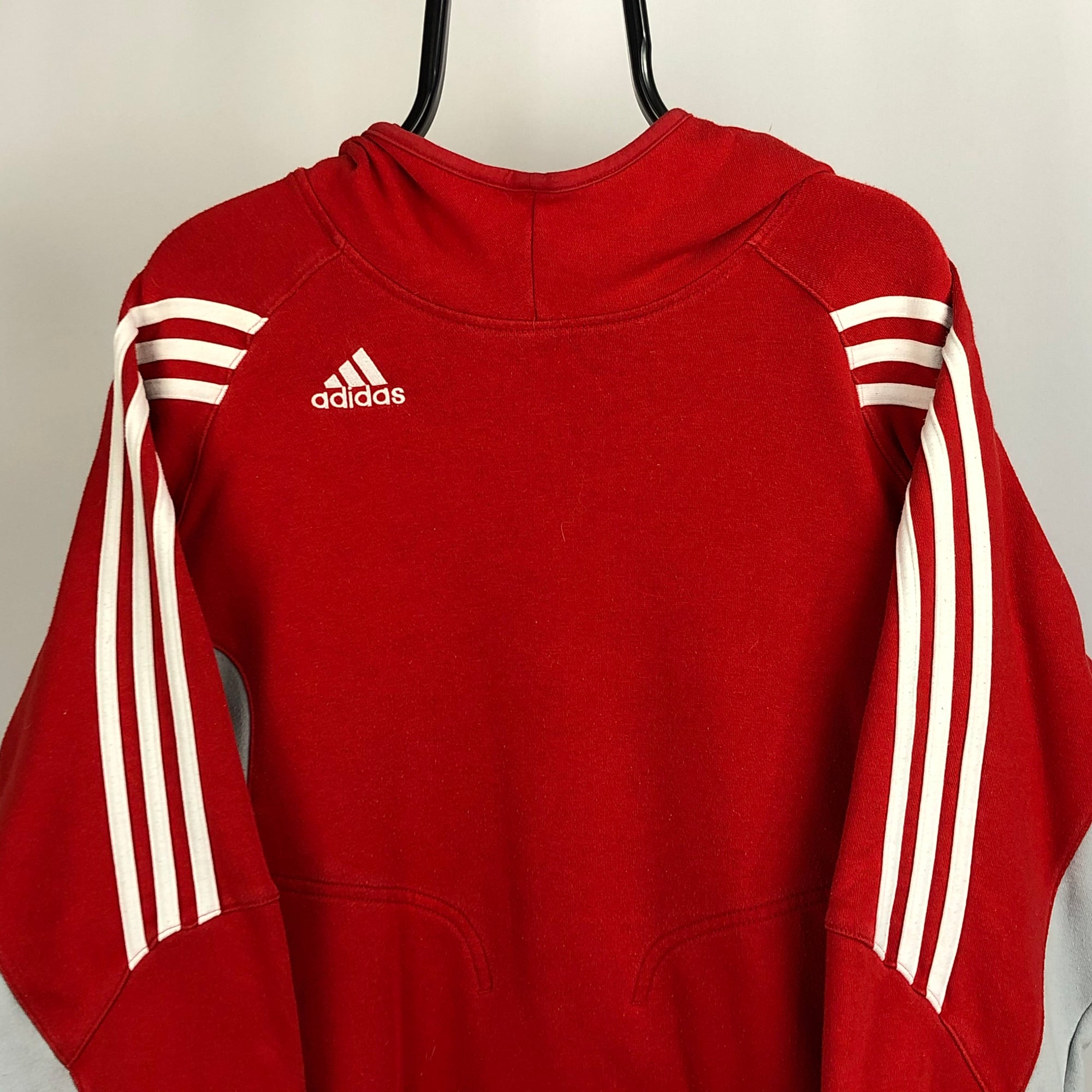 Adidas Embroidered Small Logo Hoodie in Red/Stone - Men's Medium/Women's Large