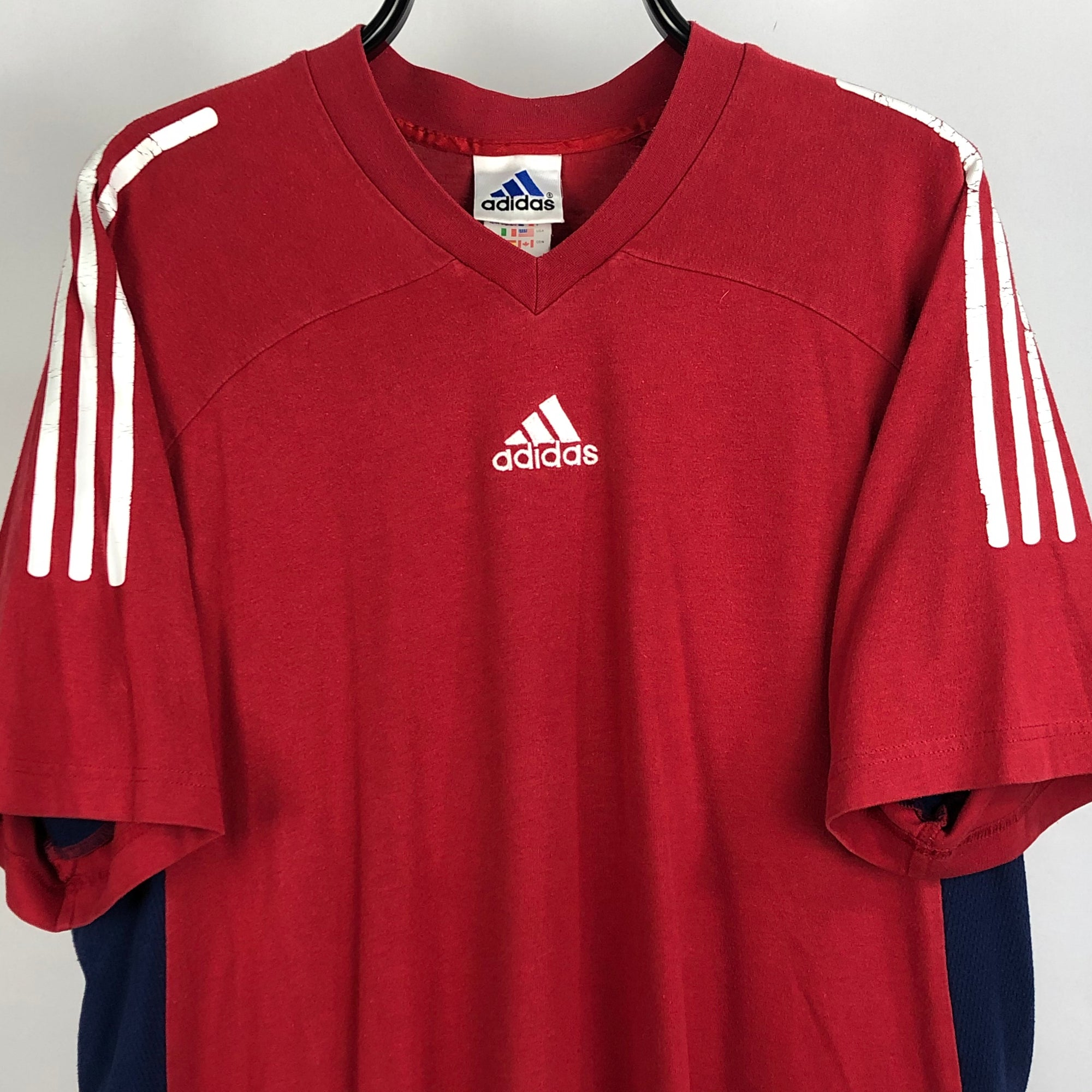 Vintage Adidas Embroidered Centre Logo Tee - Men's Large/Women's XL