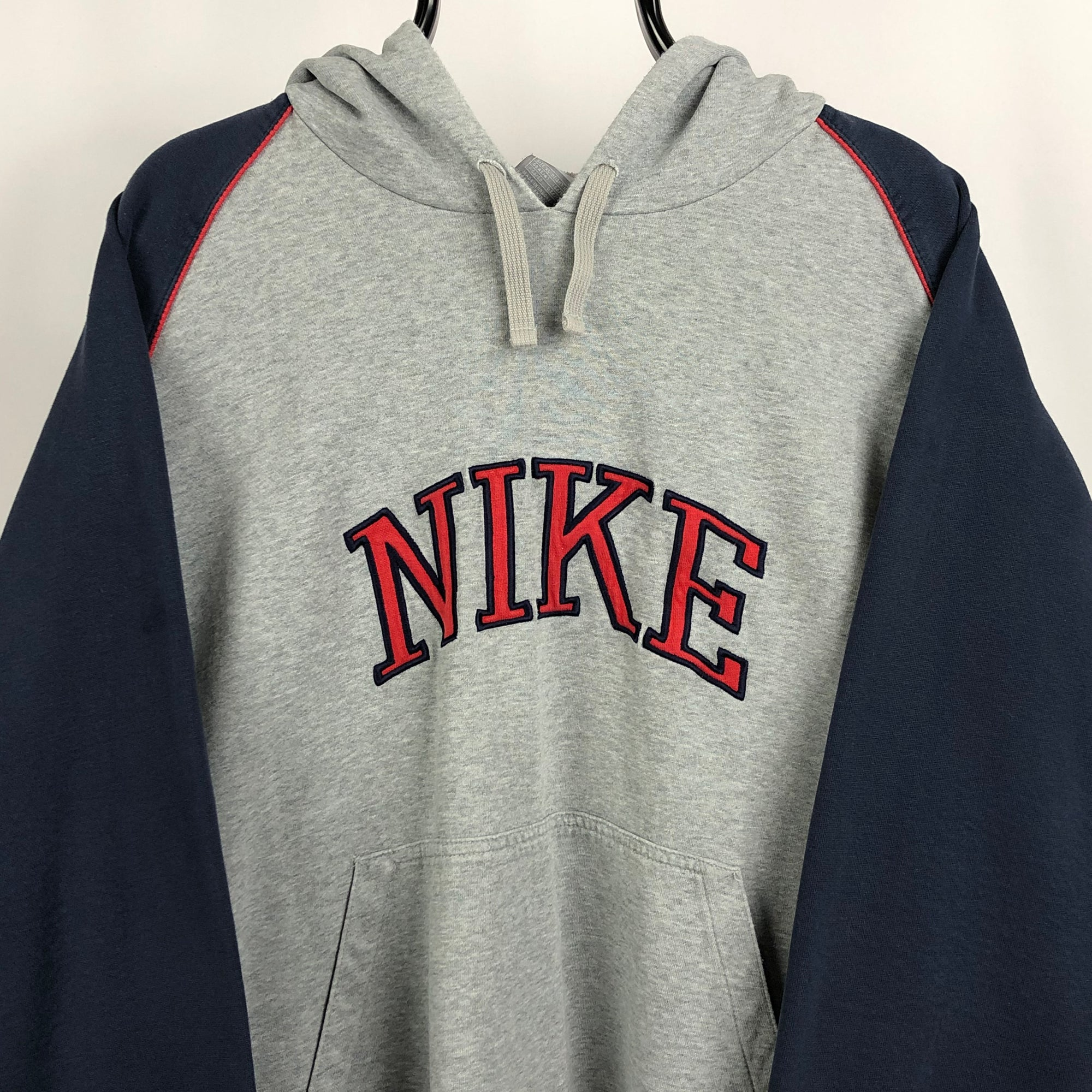 Vintage Nike Embroidered Spellout Hoodie in Grey/Navy/Red - Men's XL/Women's XXL
