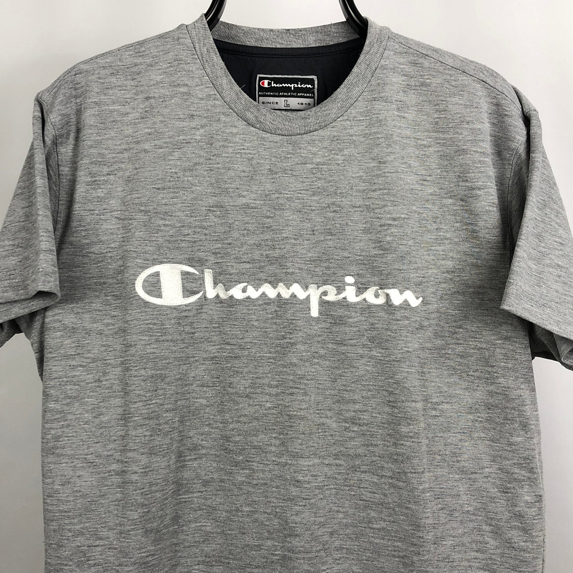 Vintage Champion Embroidered Spellout Tee - Men's Medium/Women's Large
