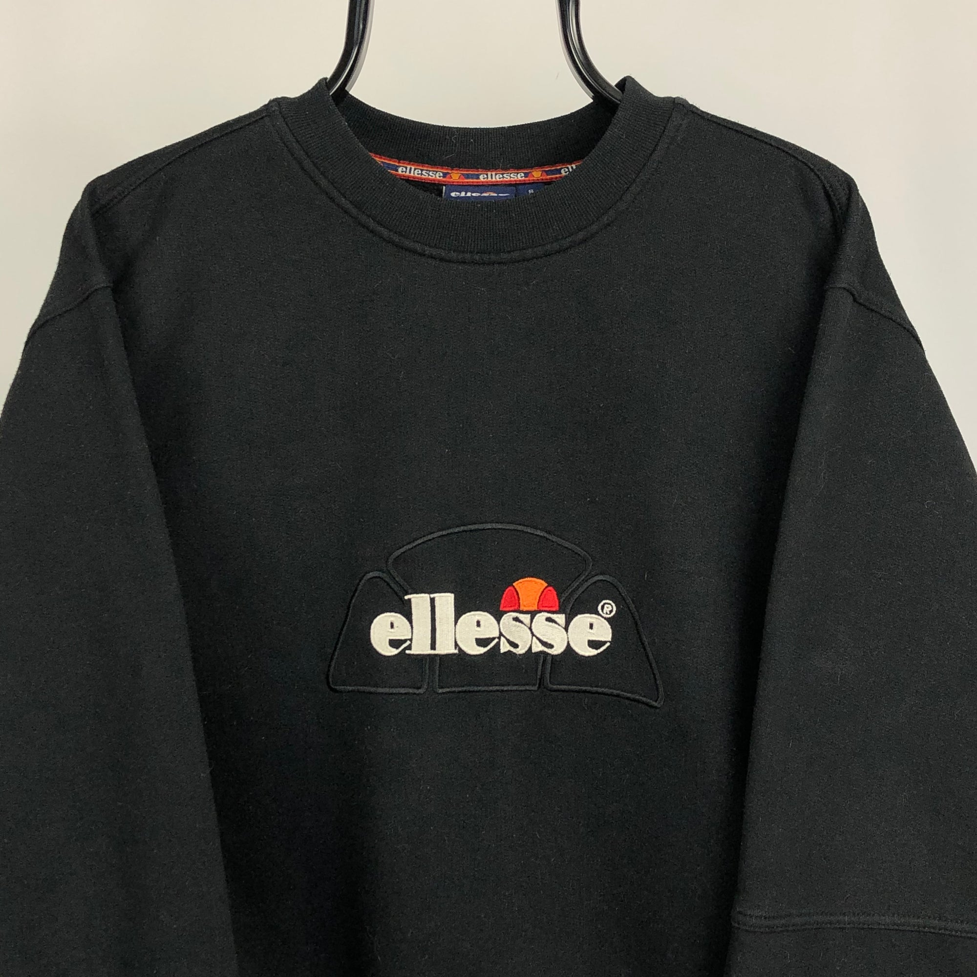 Vintage 90s Ellesse Spellout Sweatshirt in Black - Men's Small/Women's Medium