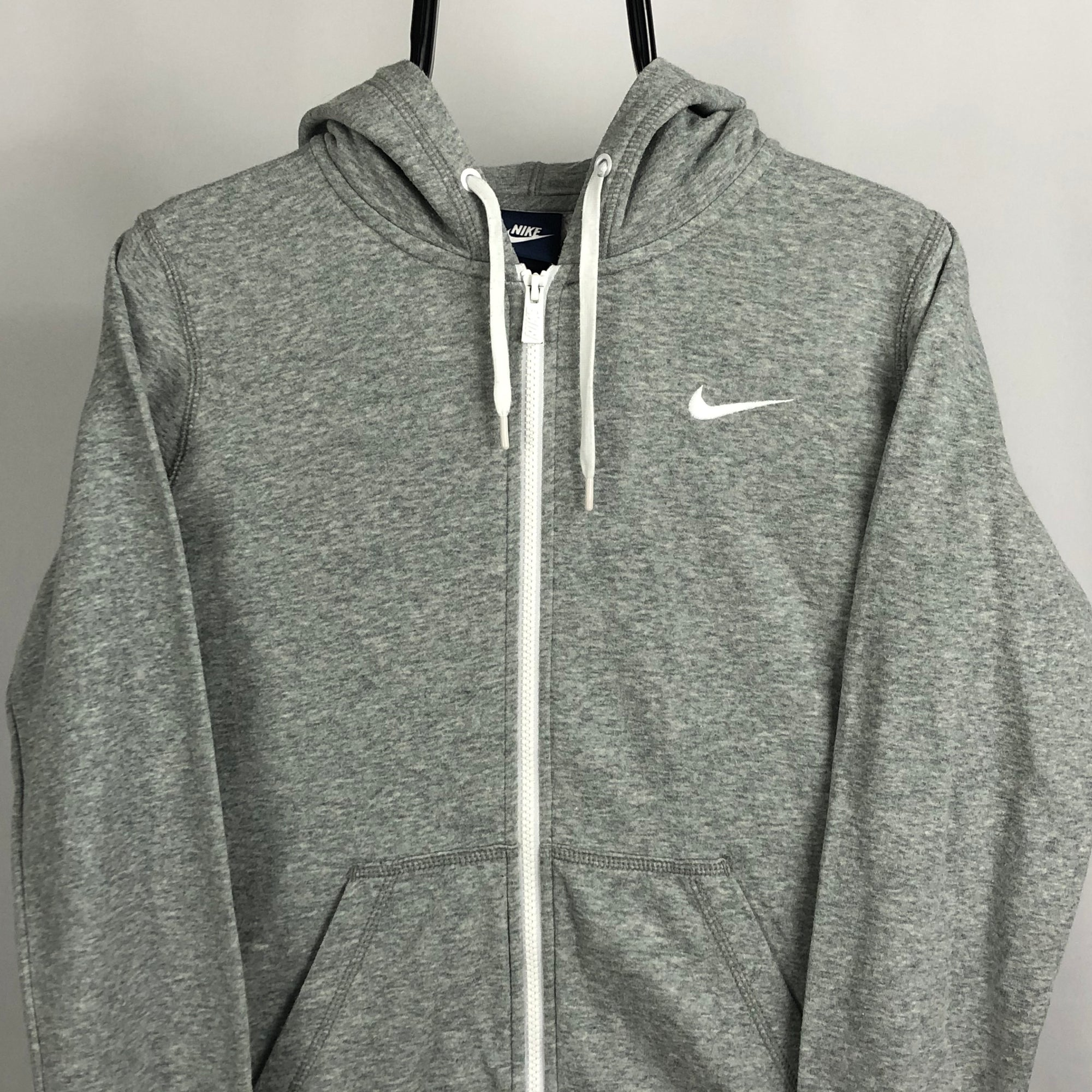 Nike Embroidered Swoosh Zip Hoodie in Grey - Men's Small/Women's Medium