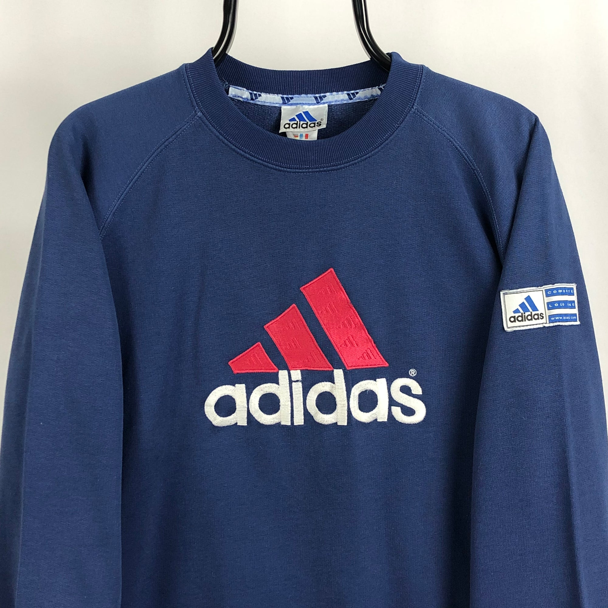 Vintage 90s Adidas Spellout Sweatshirt in Navy/Red - Men's Small/Women's Medium