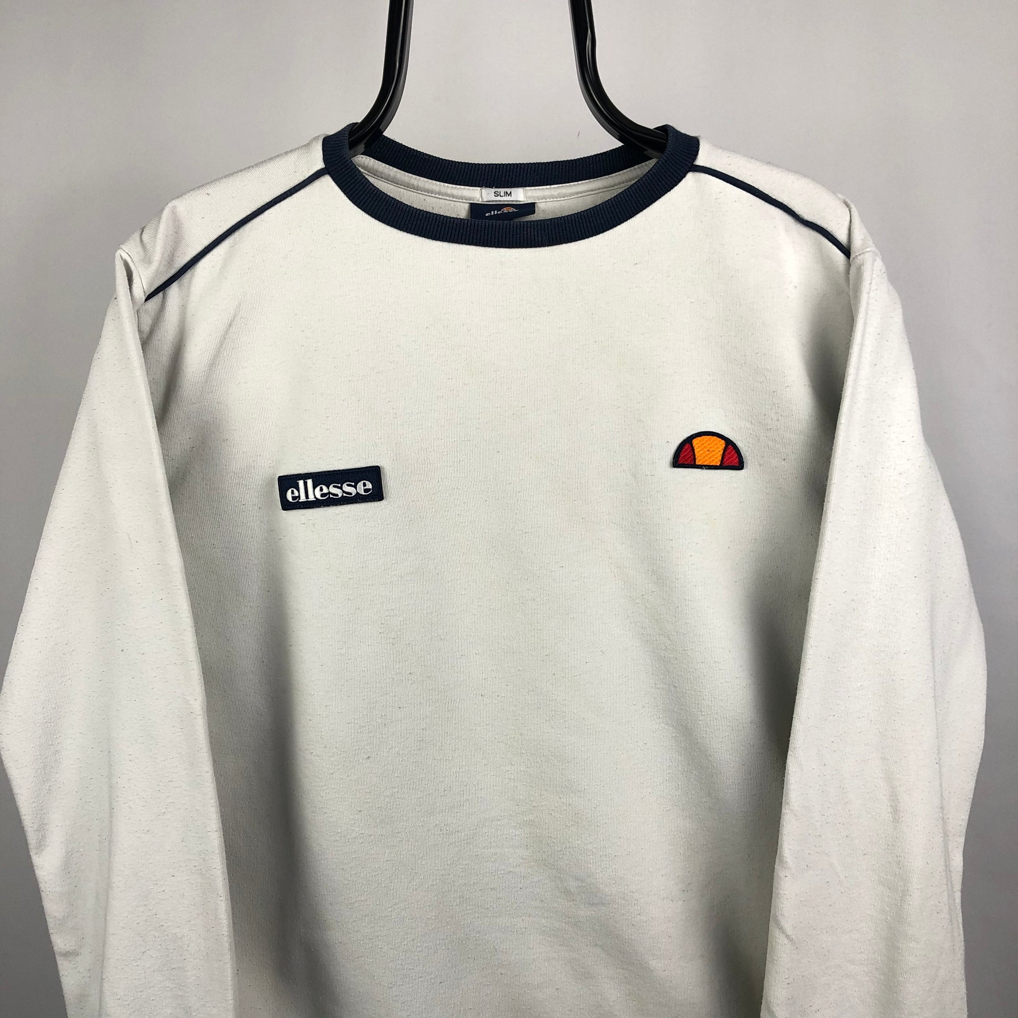 Ellesse Embroidered Small Logo Sweatshirt in White - Men's Medium/Women's Large
