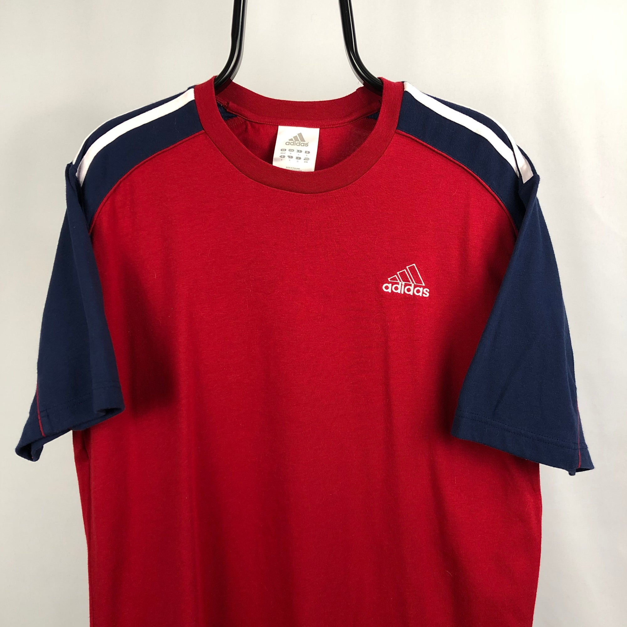 Vintage Adidas Embroidered Small Logo Tee in Red/Navy - Men's Large/Women's XL
