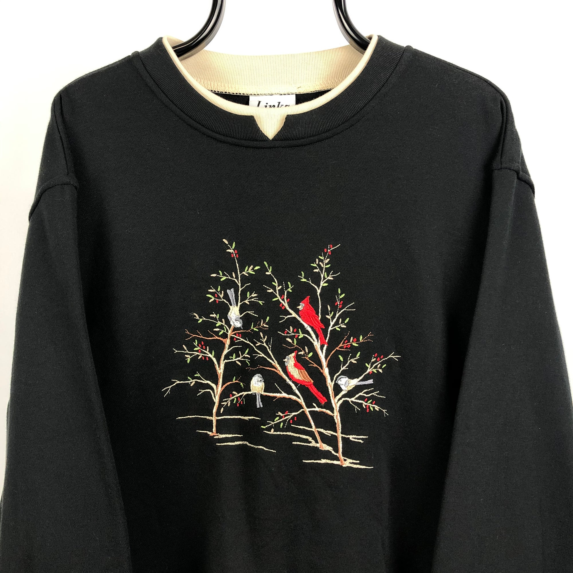 Vintage 90s Birds Embroidery Sweatshirt in Black - Men's XXL/Women's XXXL