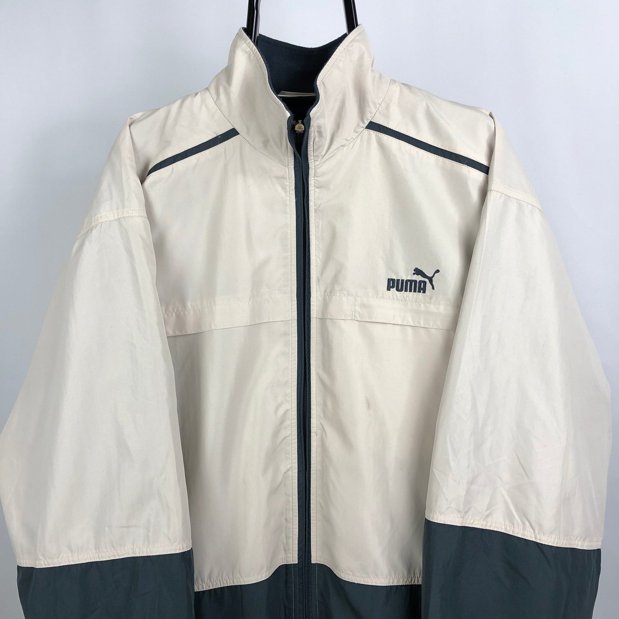 Vintage Puma Track Jacket in Beige + Dark Grey - Men's Large/Women's XL
