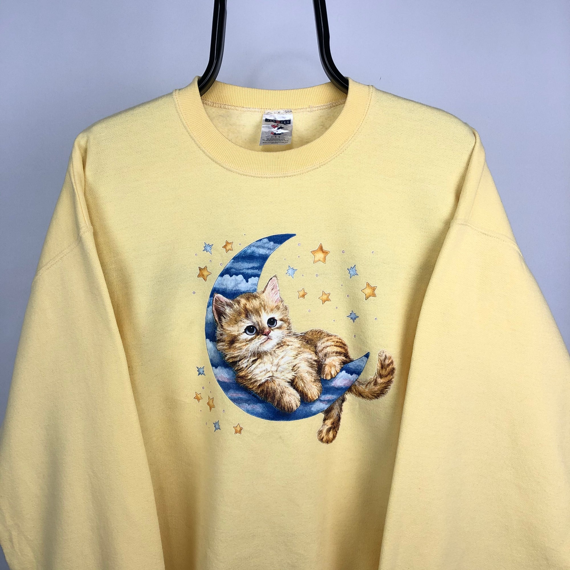 Vintage 90s Kitten Print Sweatshirt in Yellow - Men's Large/Women's XL