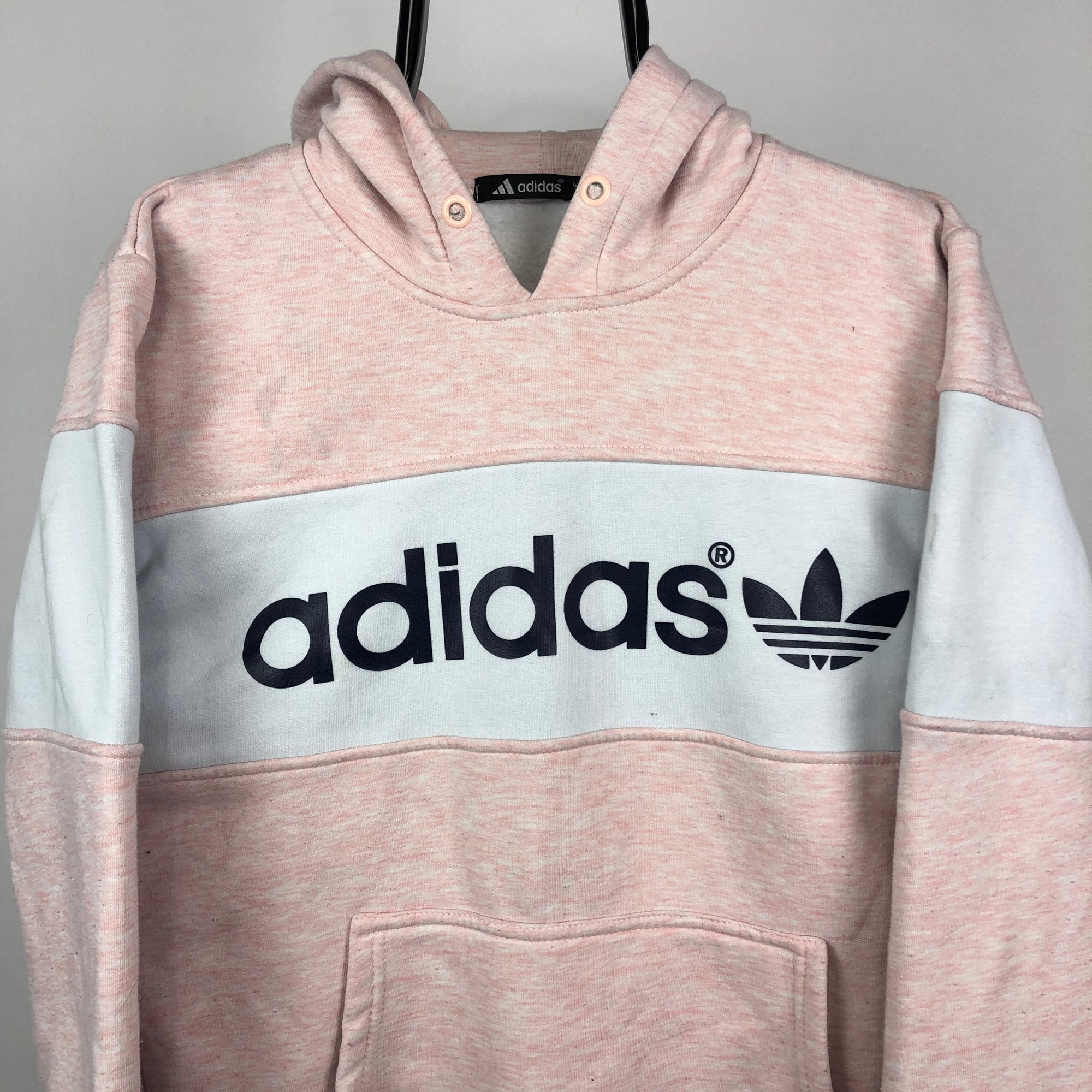 Adidas Spellout Hoodie in Pink/White - Men's Small/Women's Medium