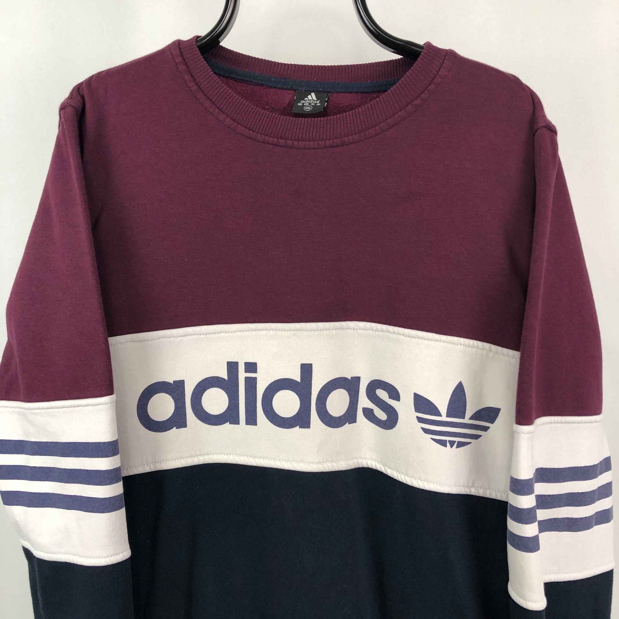 Vintage Adidas Colourblock Spellout Sweatshirt - Men's Medium/Women's Large