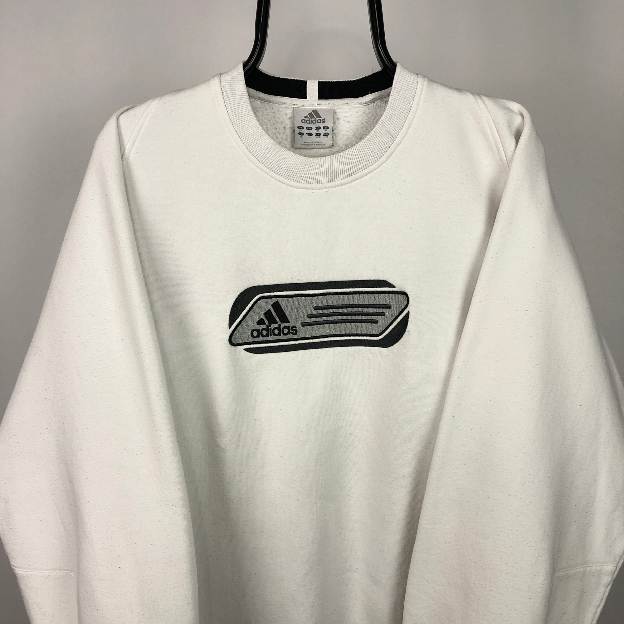 Vintage Adidas Spellout Sweatshirt in White - Men's Large/Women's XL